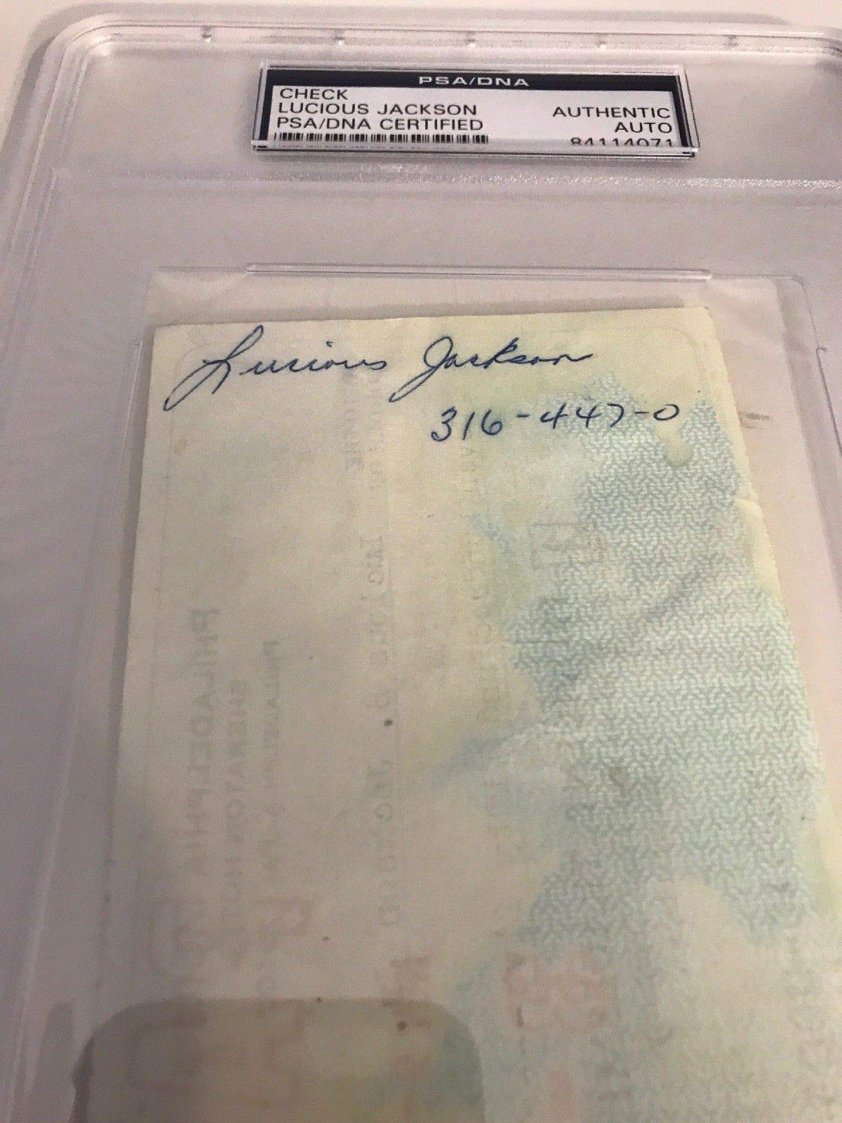 Lucious Jackson Autographed Signed Philadelphia 76Ers Payroll Check PSA/DNA Authentic Encapsulated