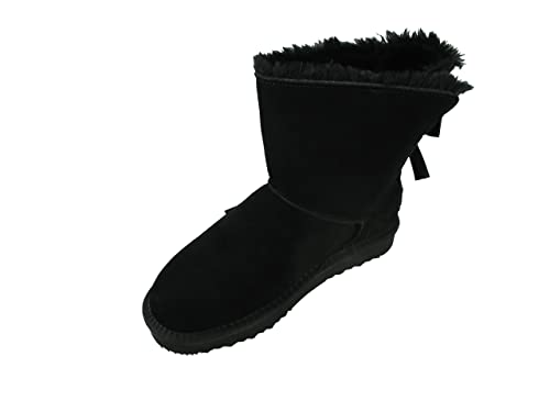 OOG Damen Leder Boots Stiefel Teddy Fell Blogger Schlupfstiefel