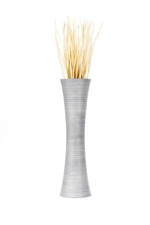 Argento Leewadee Piccolo Vaso da Terra per Rami Decorativi Vaso da Interno Vaso Centrotavola 15x41 cm Legno di Mango