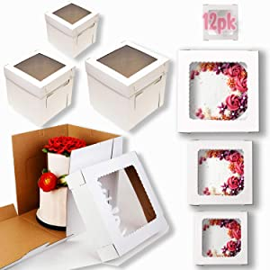 Tall Cake Boxes with Window, 6 Sizes 12 pk Use as, 12x12 10x10 8x8 Bakery Boxes Cupcake Boxes Pie Cookies Boxes Dessert Pastry baked disposable transport carrier take out container, Tall Cake box Shipping in 12 10 8 inch 2 3 tier for wedding birthday tiered kraft layer