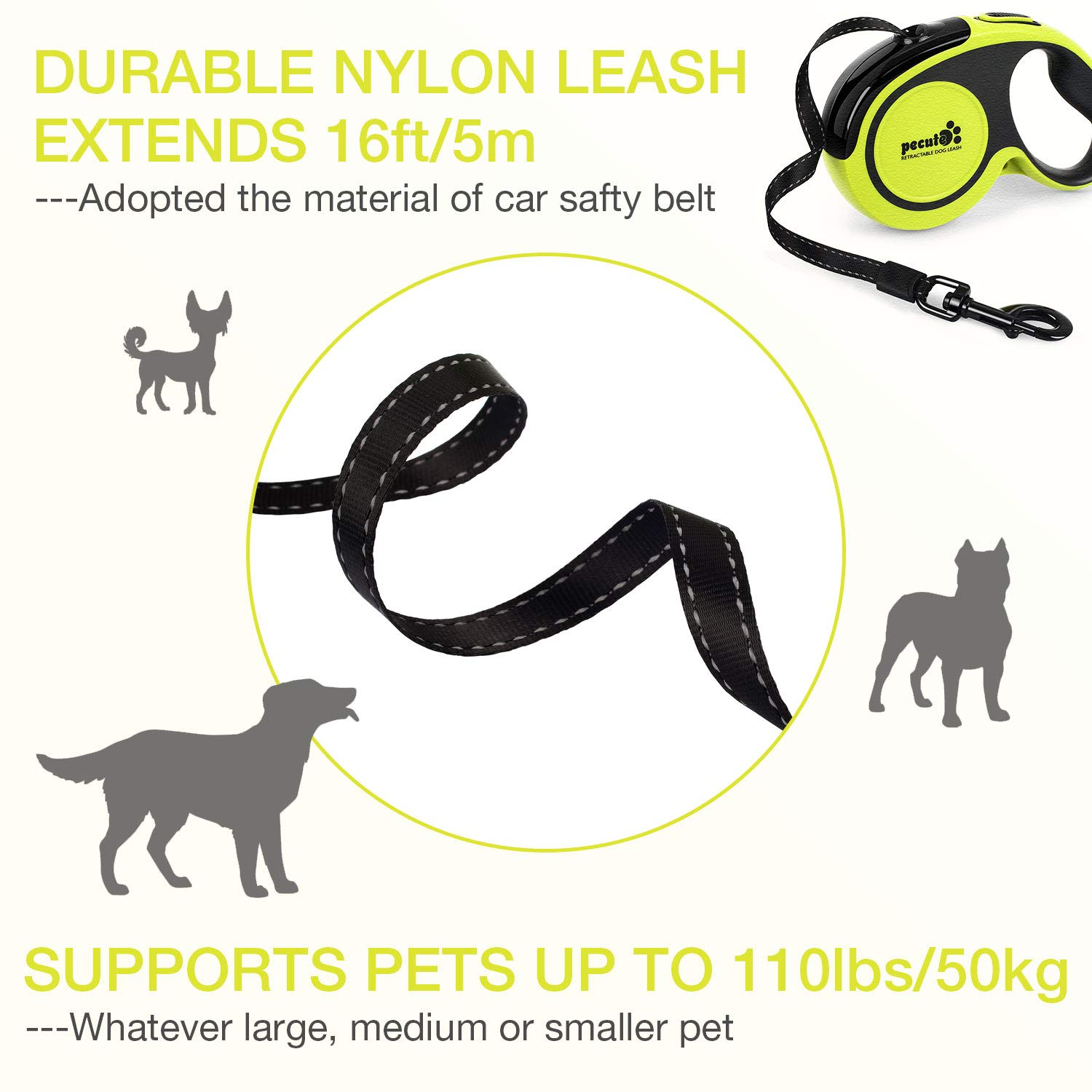 Pecute Retractable Dog Leash 16 ft Dog Night Walking Leash,360° Tangle Free Strong & Durable for Medium Large Dogs up to 110 lbs- Dog Waste Dispenser & Bags Included