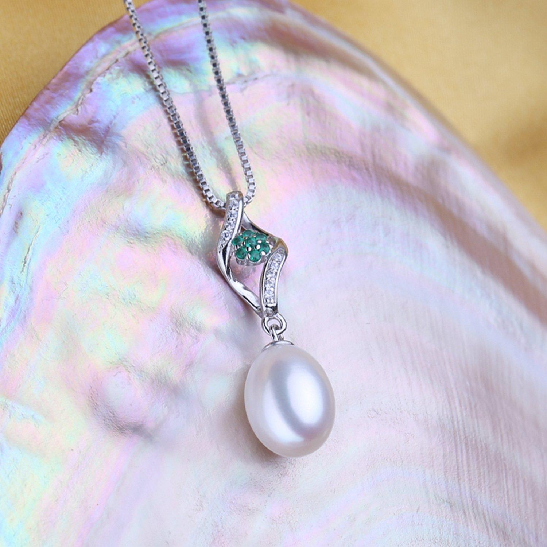 CS-DB Pendants Genuine Pearl Silver Necklaces