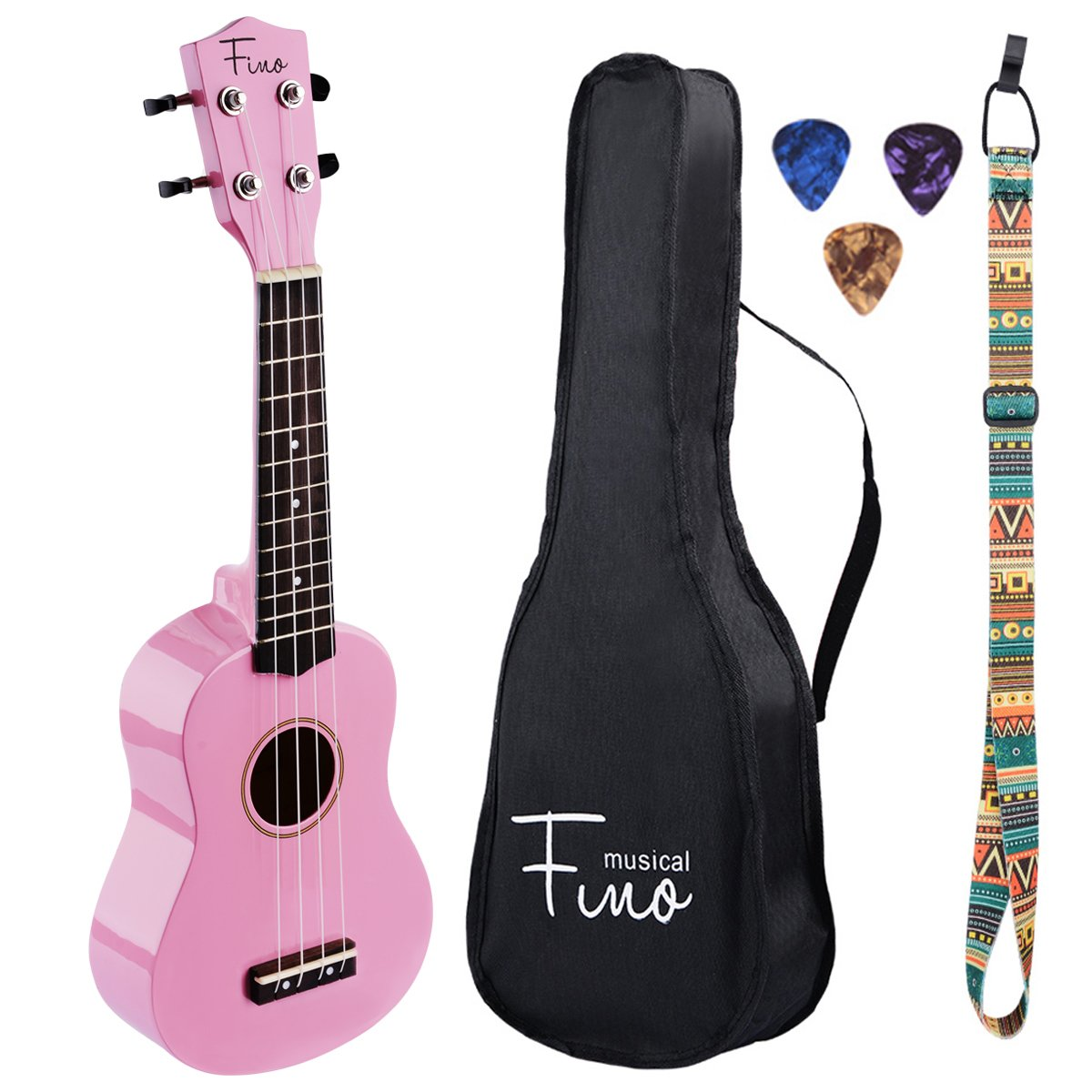 FINO Ukulele Kit for Beginners Rainbow Series,Soprano Ukulele Beginner Pack-21 inch w/Gig Bag,Strap and Picks,Small Guitar for Kids 5-8(Pink) by FINO