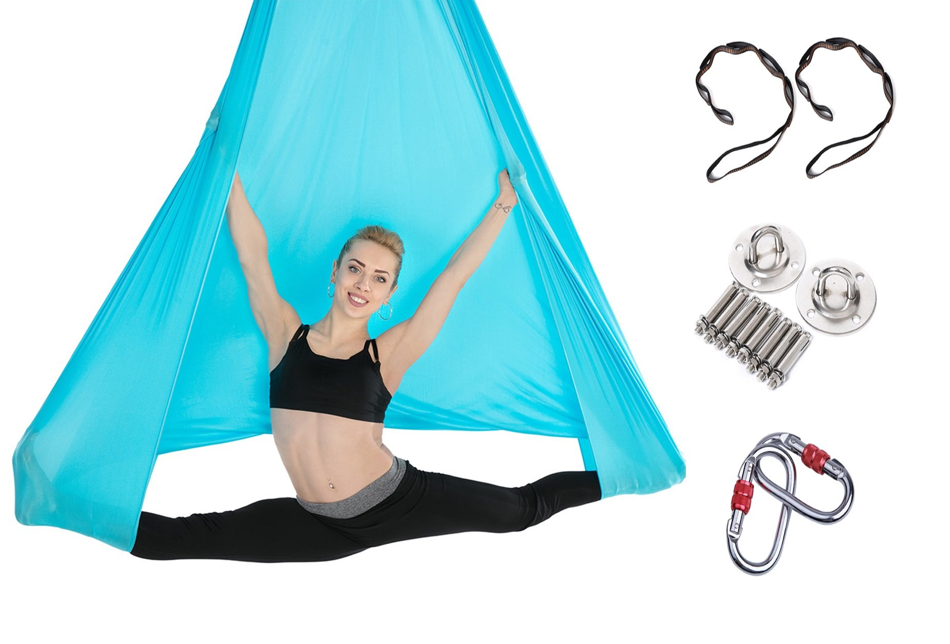 Tofern Aerial Yoga Hammock Kit 5.5 Yards Antigravity Trapeze Inversion Exercise Home Indoor Outdoor Yoga Silk Swing Sling Set with Hardware Ceiling Hooks Bolts 2 Extension Straps, Sky Blue