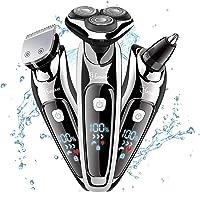 HATTEKER Rasuradoras Eléctricas para Hombres Afeitadora de Barba para hombres Afeitadora de Cabeza Giratoria Recargable y Pantalla LCD Inalámbrica