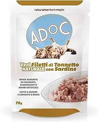 Adoc Naturale Tonno e Sardine per gatti adulti, confezione da 20 pezzi