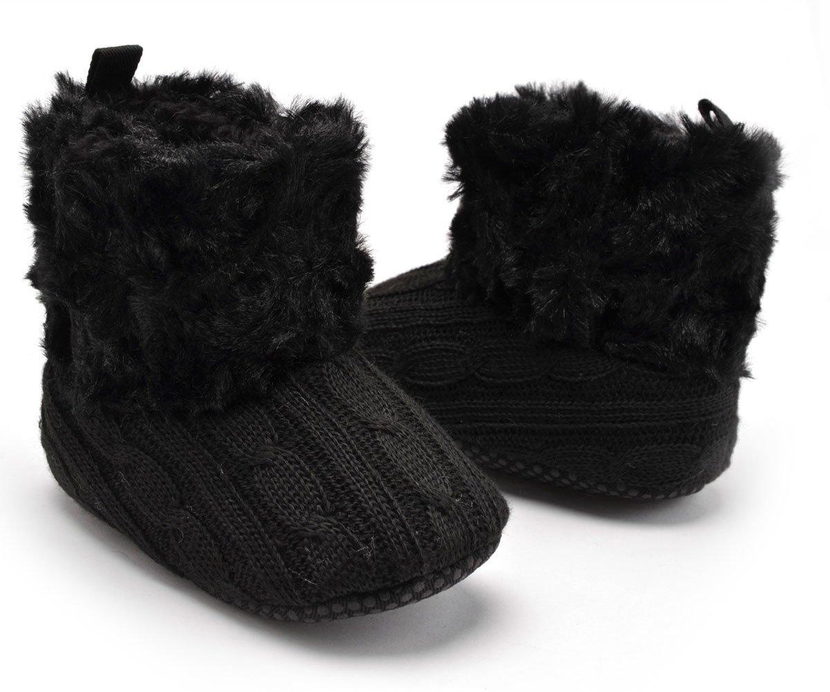 Butterme Bambino Premium morbido peluche suola antiscivolo inverno caldo infantile lavorato a maglia Prewalker del bambino Snow Boots pattini della greppia per 0-18 mesi di bambino