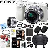 Sony Alpha a6000 Mirrorless Digital Camera 24.3MP SLR (White) w/ 16-50mm Lens ILCE-6000L/W with Extra Battery Case + 2X Lexar Professional 633x 32GB SDHC/SDXC UHS-I Card Bundle