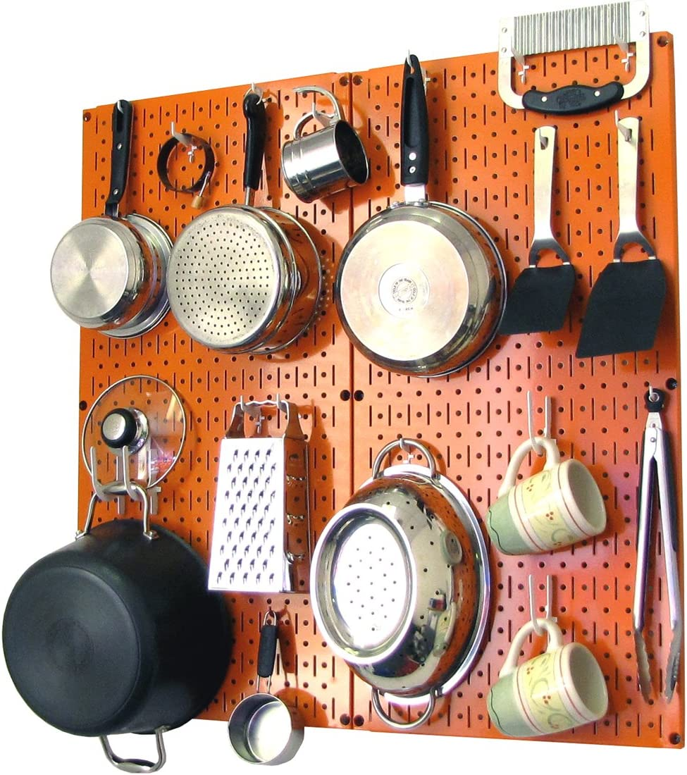 Wall Control Kitchen Pegboard Organizer Pots And Pans Pegboard Pack Storage And Organization Kit With Orange Pegboard And White Accessories Kitchen Storage And Organization Product Sets Amazon Com