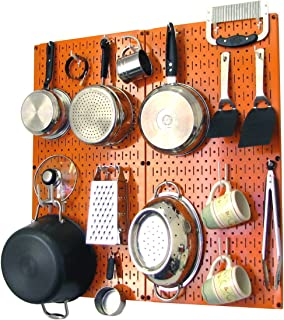 product image for Wall Control Kitchen Pegboard Organizer Pots and Pans Pegboard Pack Storage and Organization Kit with Orange Pegboard and White Accessories
