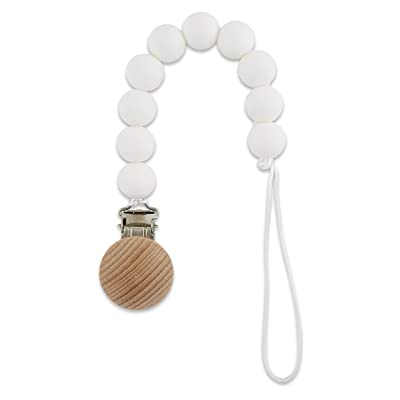 Babe Basics Pacifier Clip | Handmade Natural Wood Dummy Chain Teething Toy (Pearl Round) : Baby