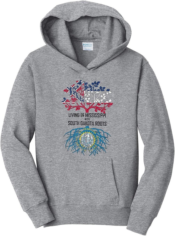 Tenacitee Girls Living in Mississippi with South Dakota Roots Hooded Sweatshirt