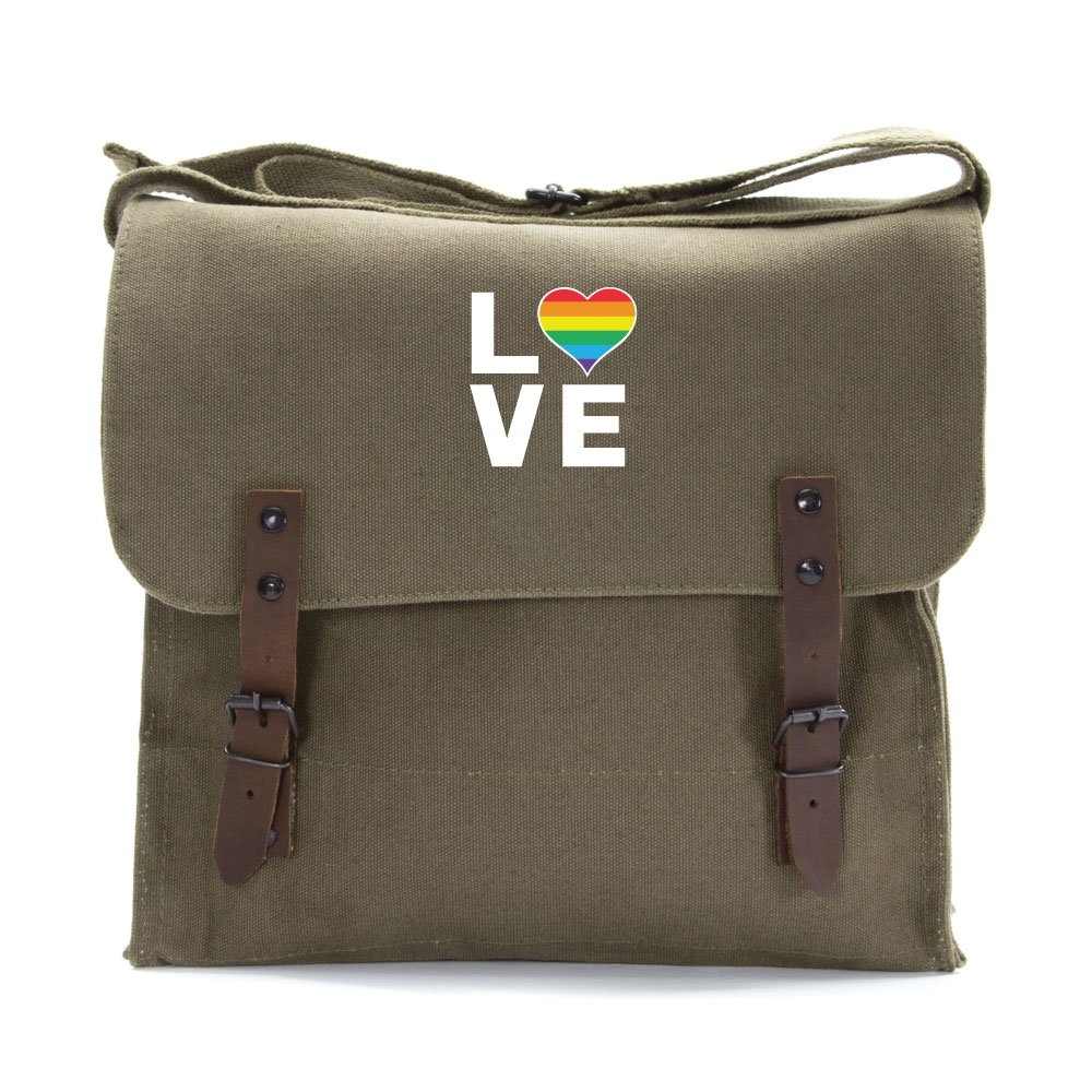 LGBT Love (Rainbow Heart) Army Heavyweight Canvas Medic Shoulder Bag in Olive & White
