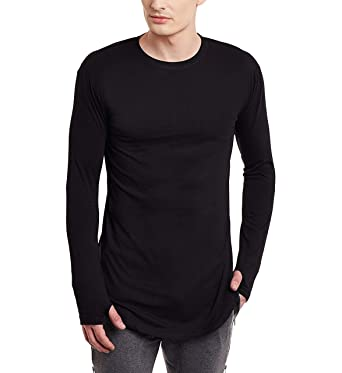 PAUSE Men s Solid Longline Cotton Thumb-Hole Long Sleeve Round Neck  Slim-Fit T b5e4ad38f00