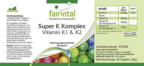 Super K Complex - Bote para 3 meses - VEGANO - Alta dosificación - 90 Cápsulas - Vitamina K1 (fitomenadiona) y K2 (menaquinona MK-7): Amazon.es: Salud y ...
