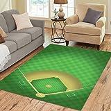 InterestPrint Baseball Field Area Rugs Carpet 7 x 5 Feet, Sport Baseball Ground Modern Carpet Floor Rugs Mat for Children Kids Home Living Dining Room Playroom Decoration