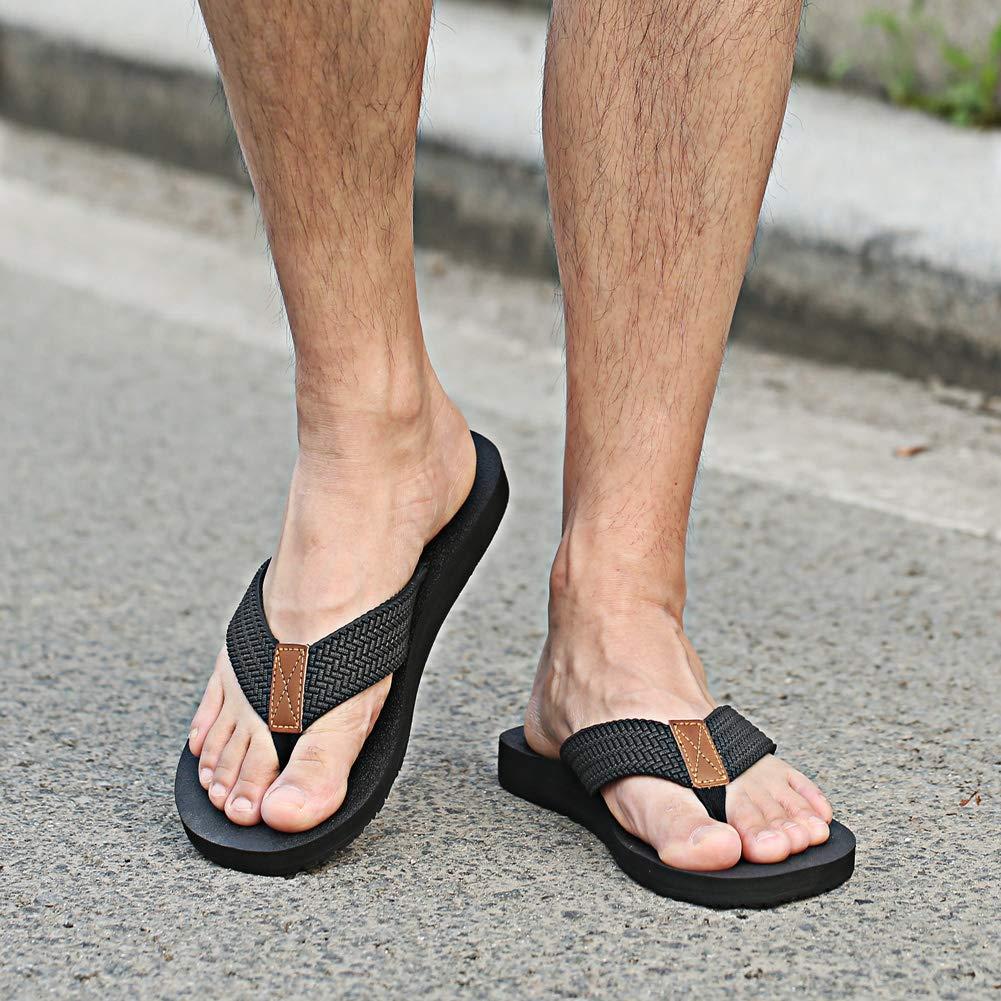 Black,Brow,Blue,Grey Size:7-13 MAIITRIP Mens Soft Comfort Flip Flops