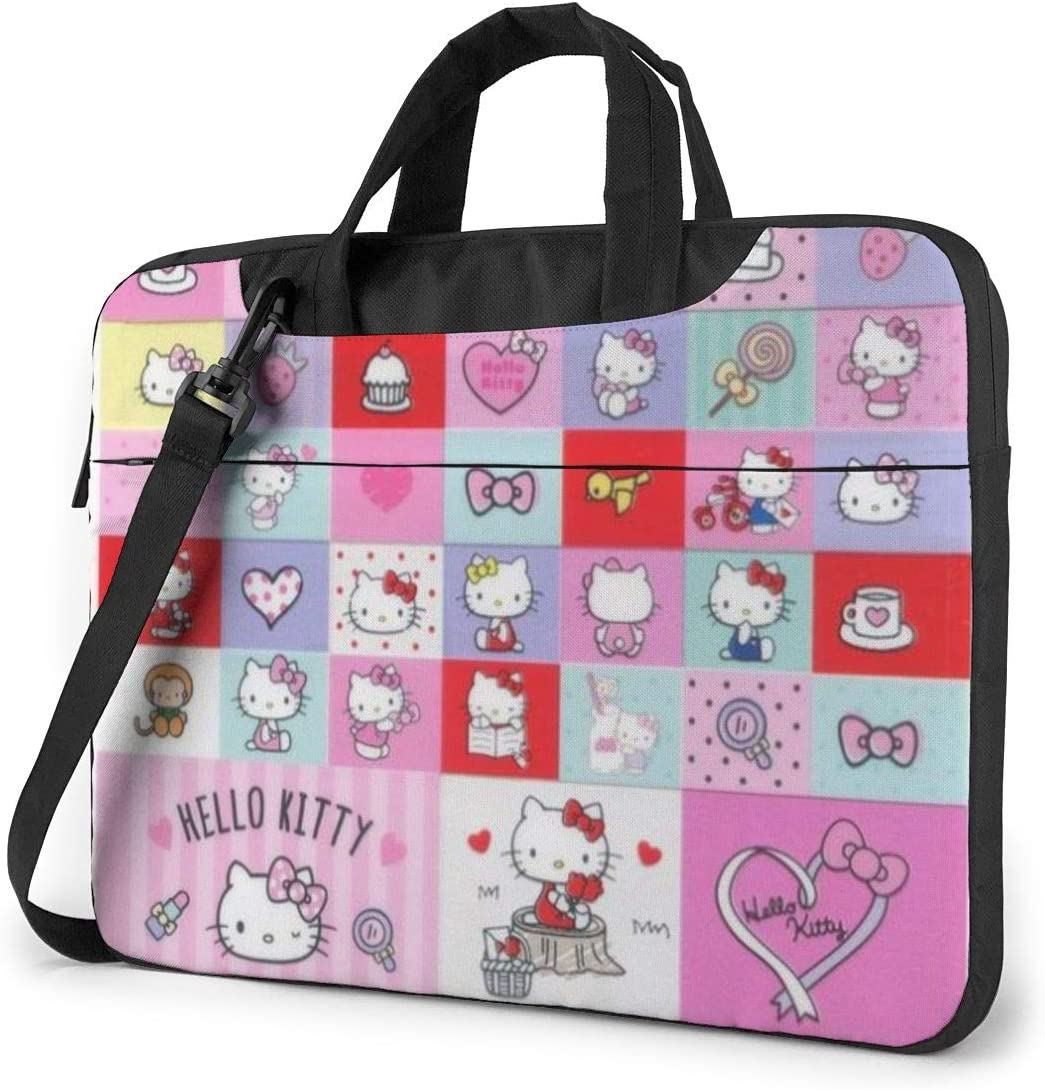 Hello Kitty Laptop Sleeve Case Handheld One Shoulder Shockproof Oxford Protective Case//Notebook Computer Pocket Case//Tablet Briefcase Carrying Bag Compatible-15.6 inch