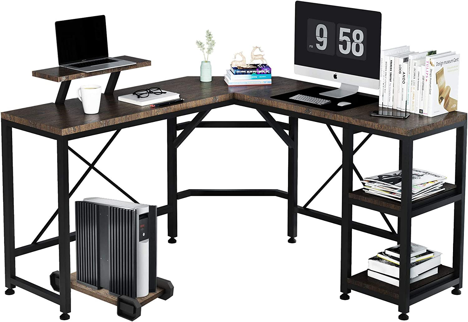 F&R 54'' L-Shaped Computer Desk, Gaming Corner Desk with Monitor Stand, 2 Storage Shelve and CPU Stand for Small Space, Home, Office, Writing, Workstation, Modern Simple Style, Easy to Assemble, Wood