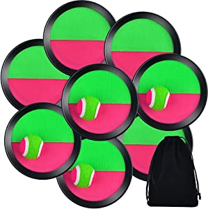 WXJ13 4 Sets Paddle Catch Ball and Toss Game 15.5cm Velcro Catch Ball Set for Sport with a Bag