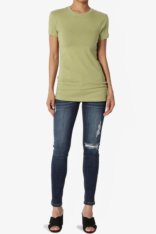 TheMogan Basic Round Crew Neck Short Sleeve T-Shirts Stretch Cotton Spandex Tee