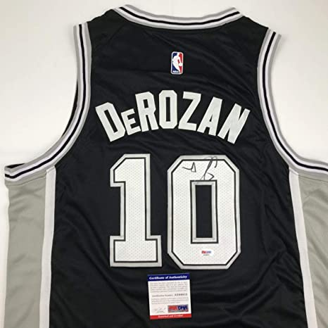 ed4e5f8aa17 Image Unavailable. Image not available for. Color  Autographed Signed DeMar  DeRozan San Antonio Black Basketball Jersey ...