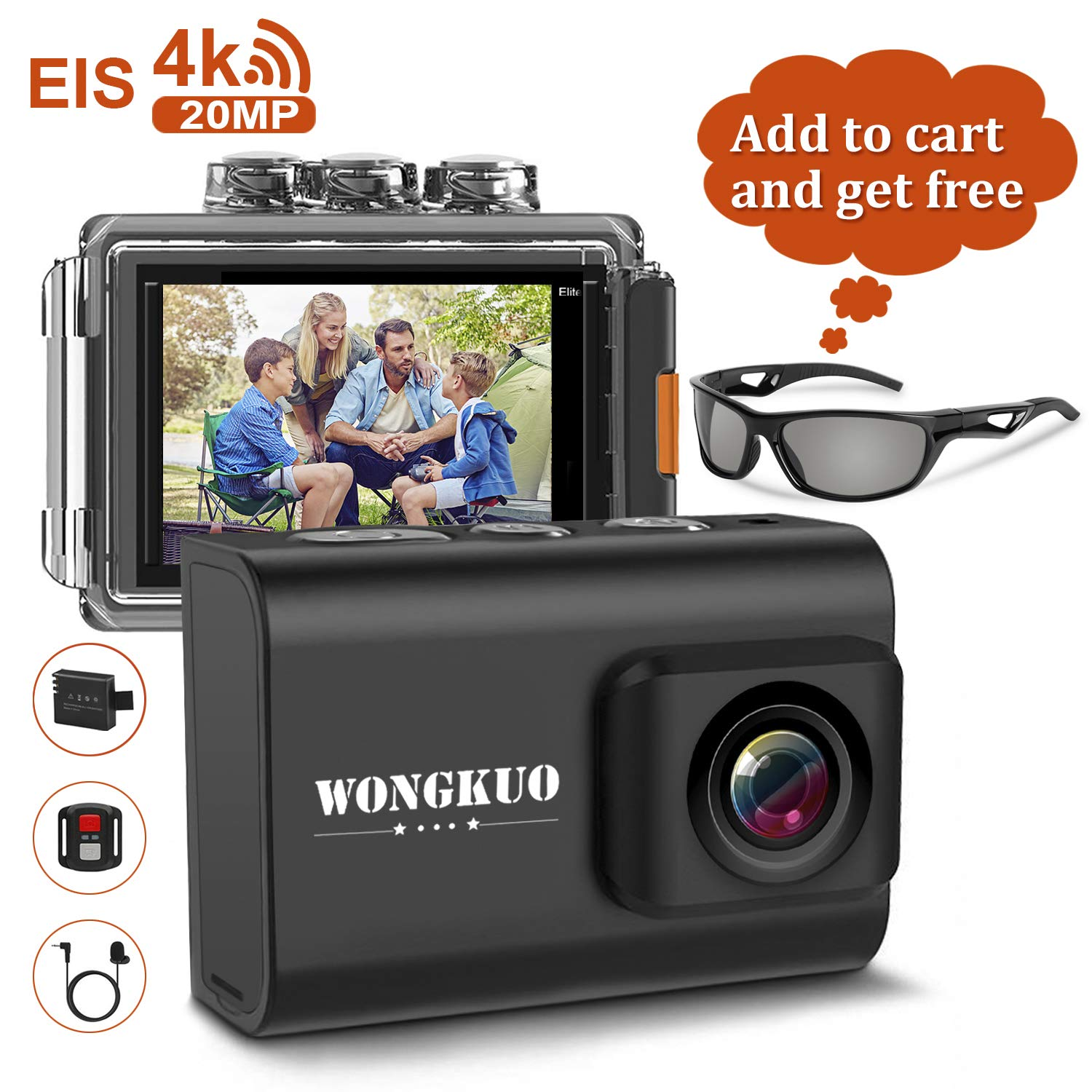 WONGKUO Upgraded Action Camera 4K 20MP Ultra HD WiFi Sport Camera with EIS 30m Waterproof Camera 170°Wide Angle Camcorder 2'' LCD Screen Support External Microphone Remote Control with Accessories Kit