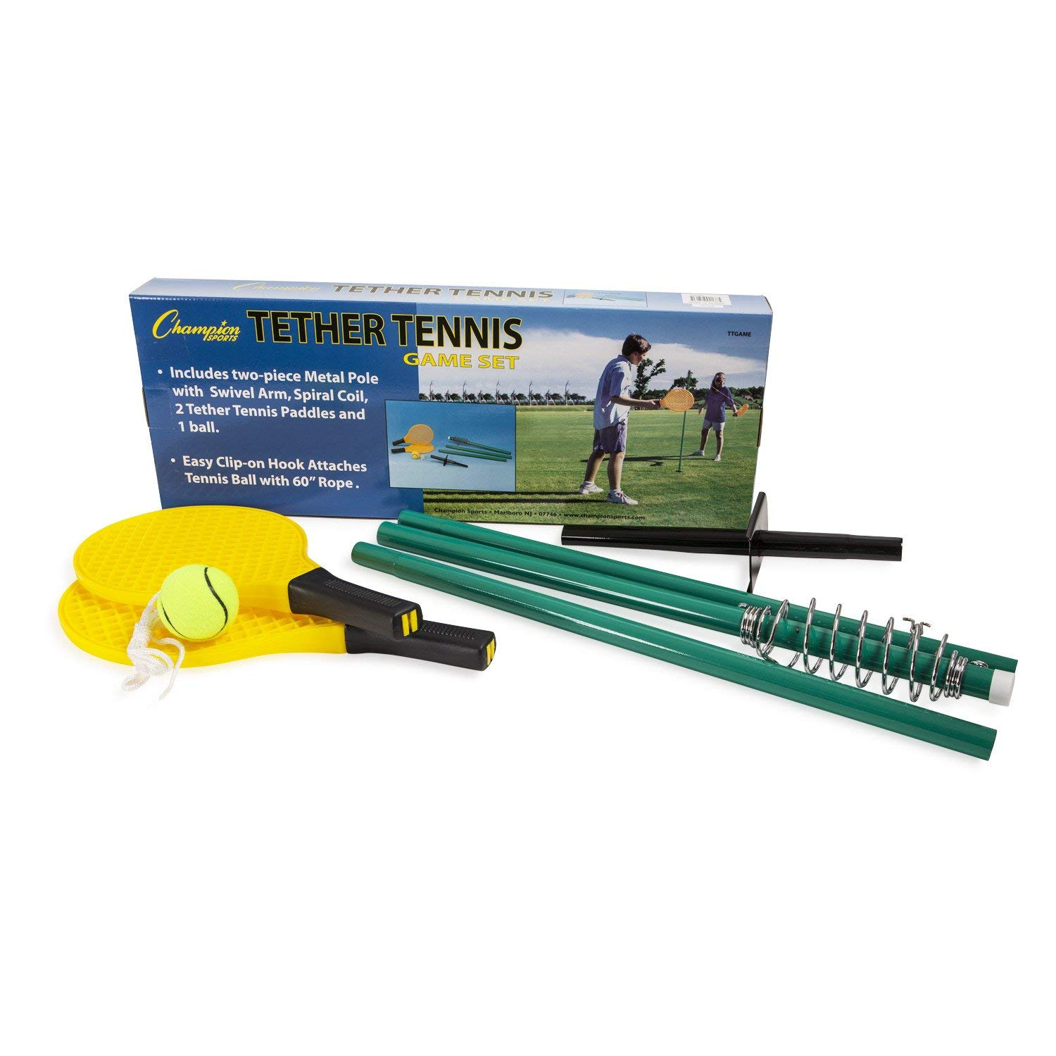 Champion Sports TTGAME Tetherball Tennis: Swingball Outdoor Lawn Game for Kids, Adults, and Families - Backyard Tether Kit with Tennis Ball and Paddle Set (Renewed) by Champion Sports