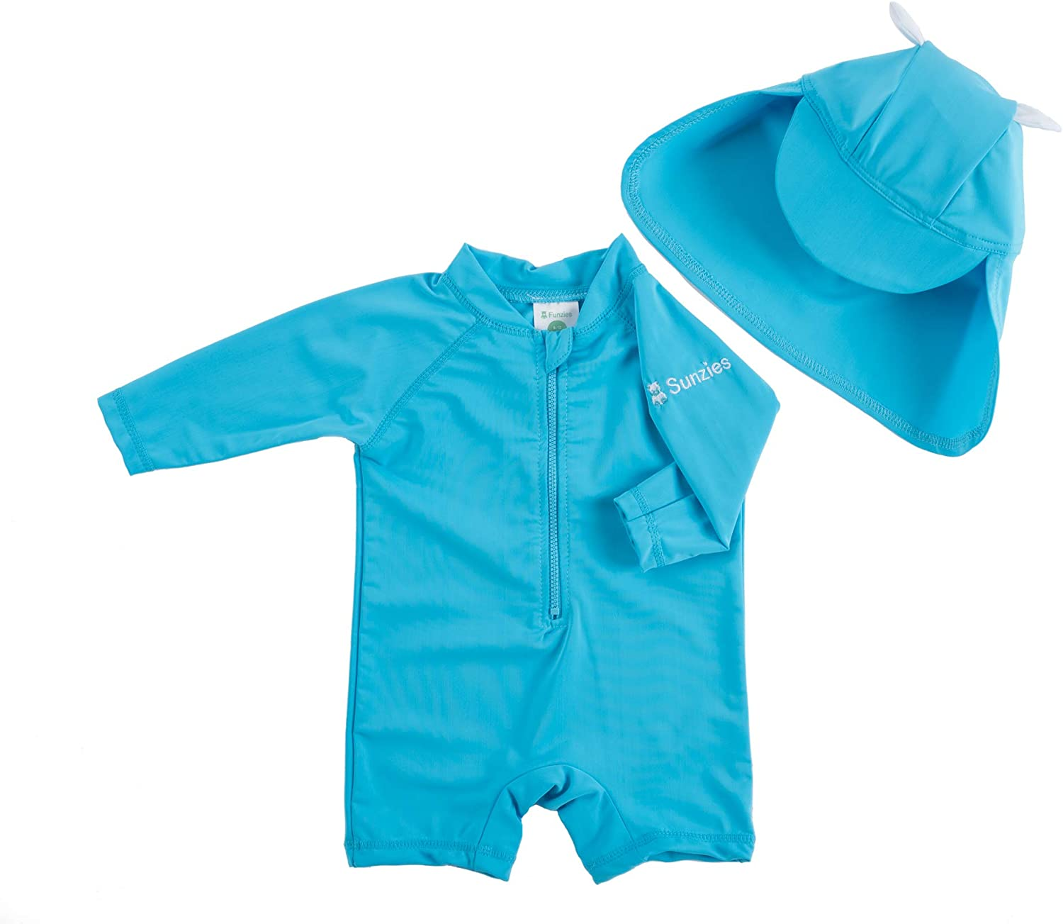 Sun Protective Long Sleeve Infant Sunsuit with Hat Sunzies One Piece Baby Swimsuit UPF 50