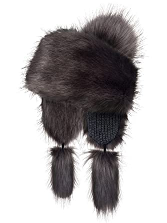 52e0da4c2f3 Futrzane Faux Fox Fur Winter Trapper Hat Women Russian Style Pompom  (Graphite) at Amazon Women s Clothing store  Bomber Hats
