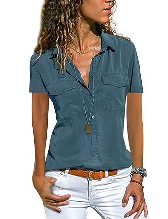 Blusa para Mujer Camisa Basiccon Botones Camisetas Cuello en V Camisas de Vestir Mangas Cortas Casual Oficina Básico