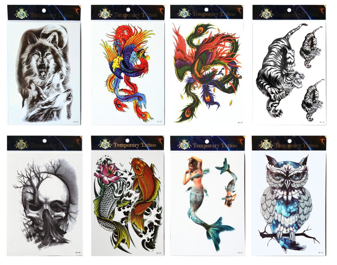 Larga duración y realista Temp tatuaje pegatinas 8pcs Mezcla en un ...