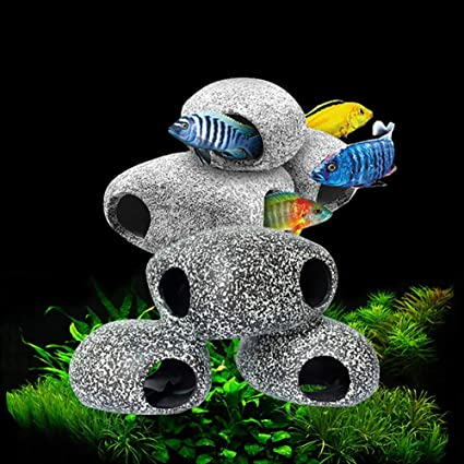 Switty pecera de Cíclidos Piedras 3 Piezas Acuario de Cría de Peces Cueva Decoración de Piedra: Amazon.es: Productos para mascotas