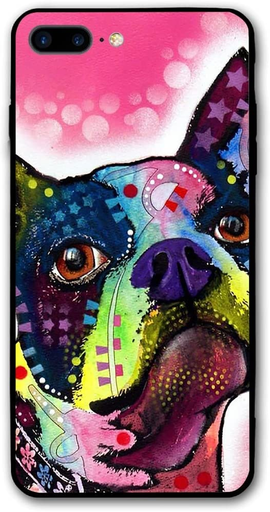 Happy Index Boston Terrier iPhone 7 Plus Case/iPhone 8 Plus Case Soft TPU Shell Shock-Absorption Bumper Anti-Scratch Case Enhanced Grip Protective Defender Cover