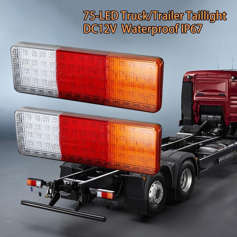 TOPPOWER 75LED Truck Tailer Light Bar DC12V Turn Signal/Brake/Reverse Taillight for Truck,Trailer,Pickup,UTV,RV Camper etc(Pack of 2)