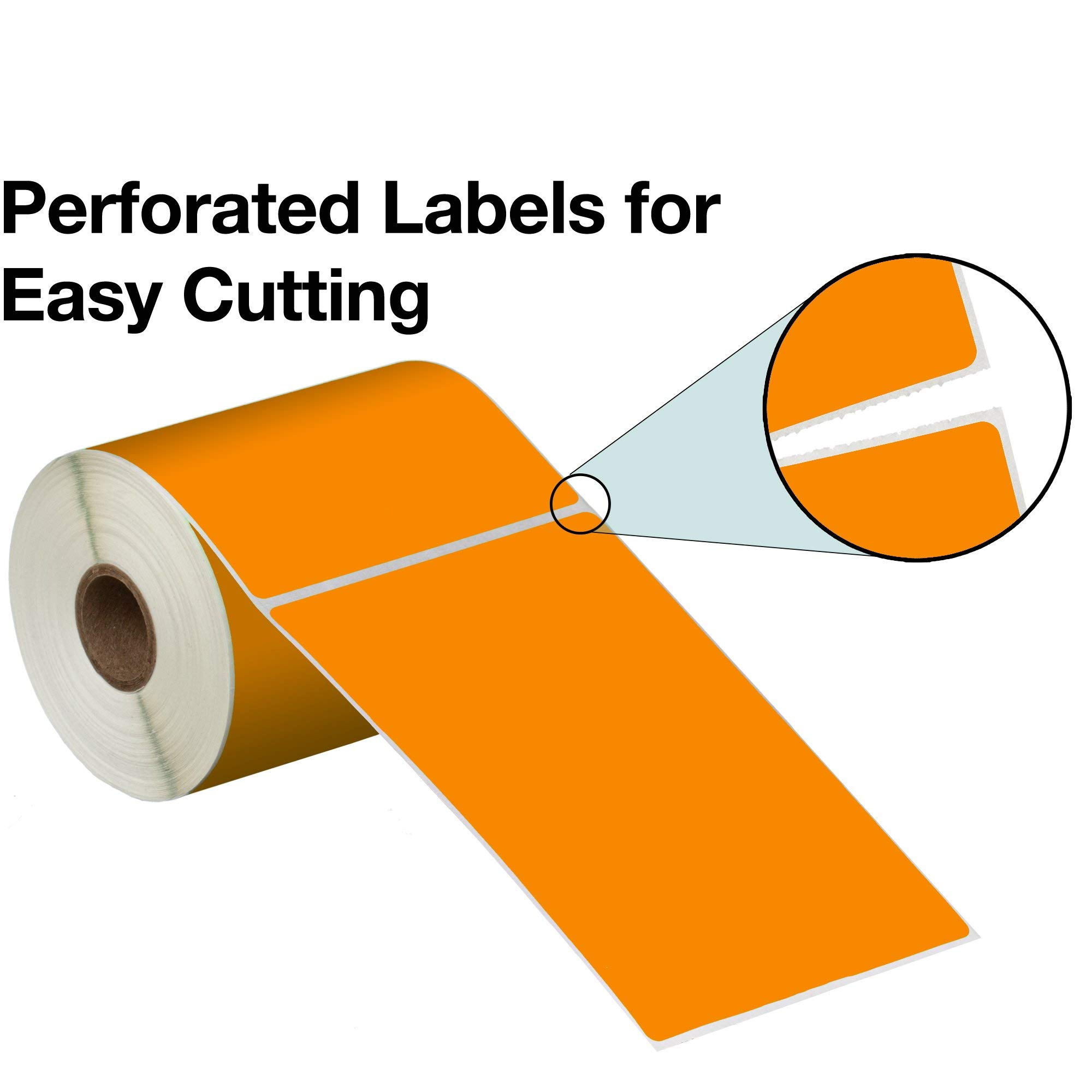 Direct Thermal Labels - 4'' x 6'' - Orange - 1'' Core - Works with Zebra Thermal Desktop Printers, Datamax, Sato, Intermec and Honeywell Printers - Made in USA