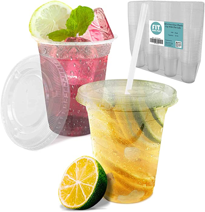 [100 Pack] 12 oz Clear Plastic Cup with Lid - BPA Free Take Out Container for Iced Cold Drink Coffee Tea Juice Smoothie Bubble Boba Frappuccino, Disposable and Crack Resistant