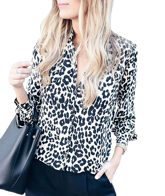 Ajpguot Camisas Mujer Cuello V Blusas Estampado de Leopardo Tops Casual Camisetas de Manga Larga