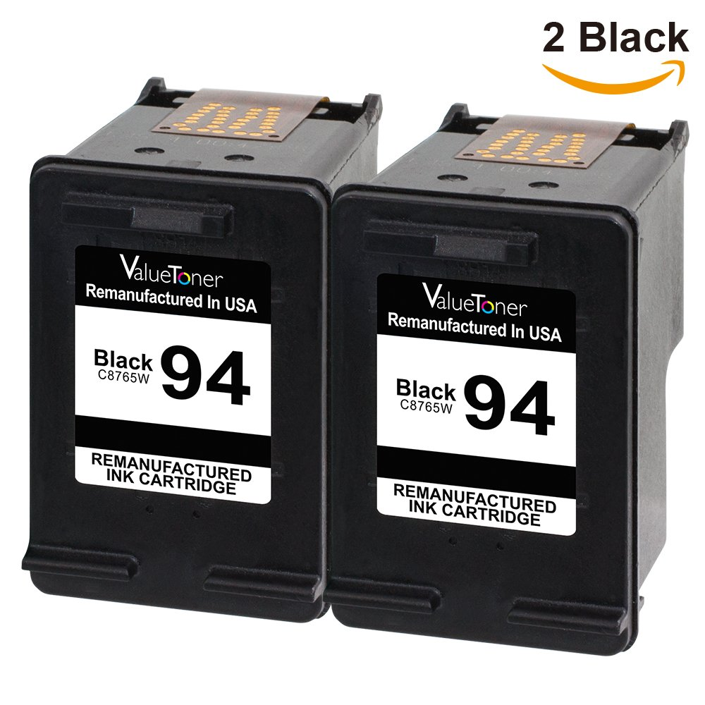 Valuetoner Remanufactured Ink Cartridge Replacement for HP 94 C9350FN C8765WN (2 Black) 2 Pack