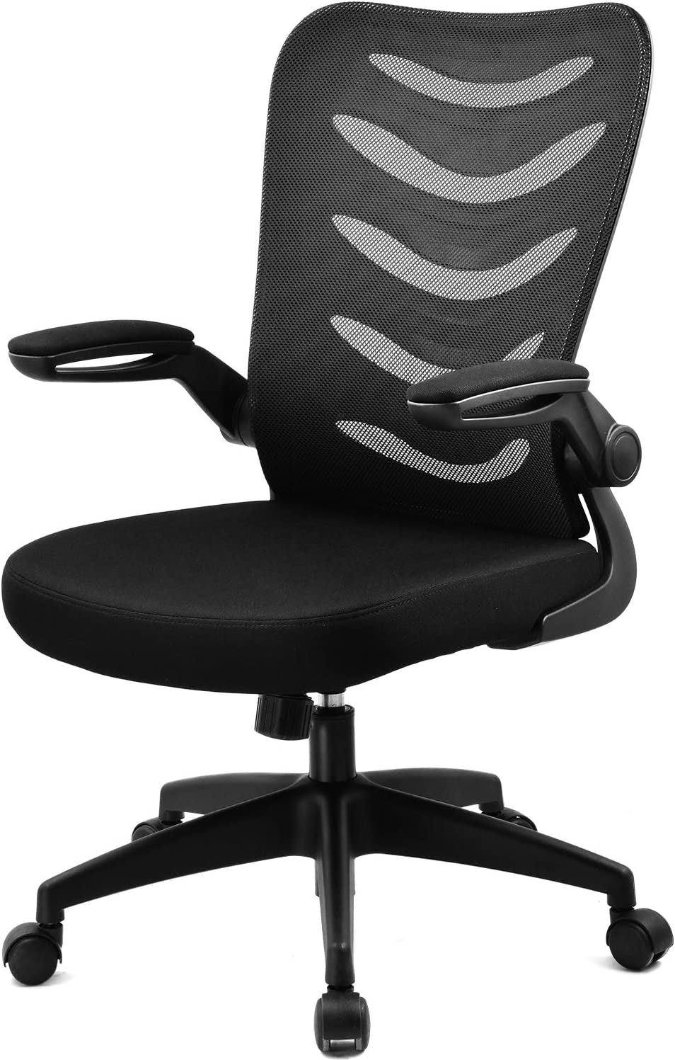 ComHoma Office Chair Mesh Desk Ergonomic Computer Chair with Flip Up Arms Lumbar Support Adjustable Swivel Mid Back for Conference Home Office, Black, BIFMA Certified