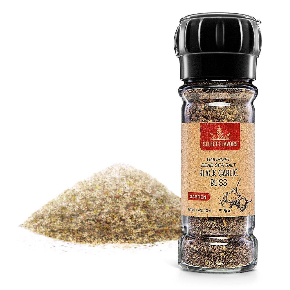 Select Flavors Gourmet Flavored All Natural Black Garlic Bliss Spice Blend 3.5 oz Grinder Top