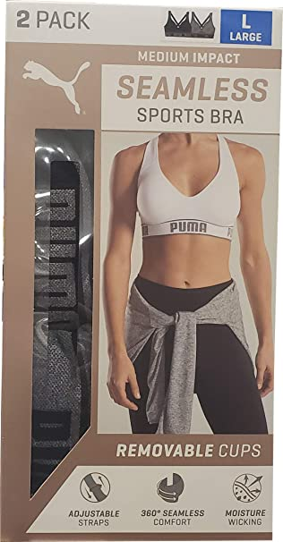 1f99752d PUMA Women's Seamless Sports Bra Removable Cups - Adjustable Straps  Moisture Wicking (2 Pack)