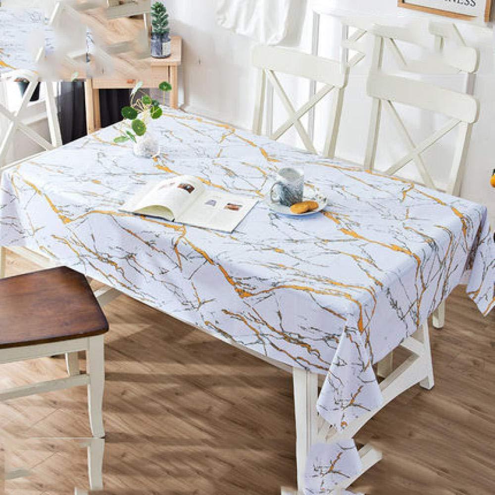 WJJYTX tischdecke Plastik, Abwischbare Tischdecke Rechteckiges wasserdichtes Vinyl für die Gartenküche Außen- oder Innenmarmor @ 110 * 160
