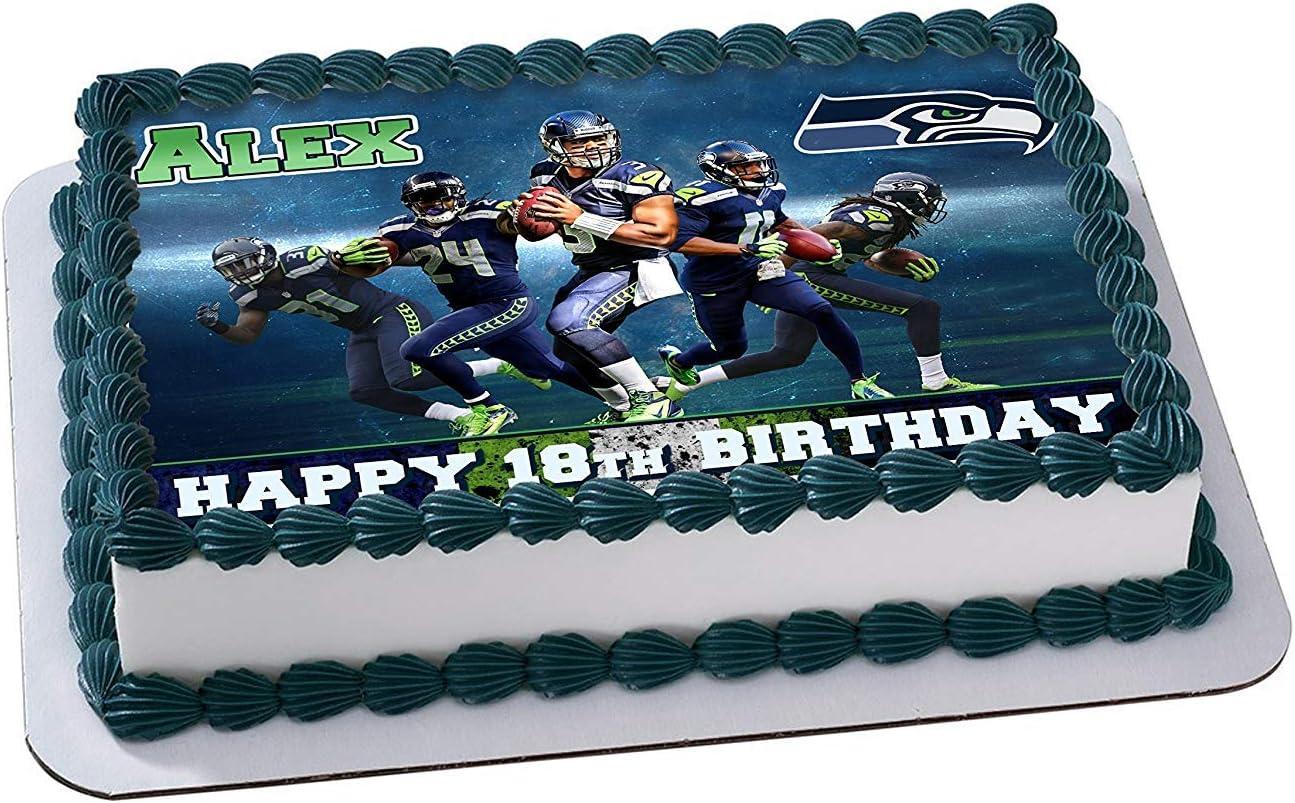 Fabulous Amazon Com Seattle Seahawks Edible Image Cake Topper Personalized Birthday Cards Printable Trancafe Filternl