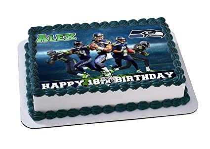 Amazon Seattle Seahawks Edible Image Cake Topper Personalized Icing Sugar Paper A4 Sheet Frosting Photo 1 4 Best Quality