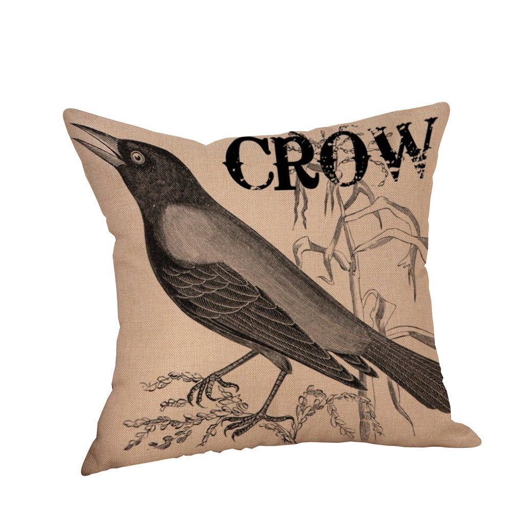 Pgojuni Happy Halloween Crow Printed Home Pillowcase Linen Decoration Throw Pillow Cover Cushion Cover Square Pillow Case for Sofa/Couch 1pc (A)