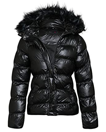 34637912 shelikes Womens Shiny Wetlook Winter Quilted Jacket (Black, 10 ...