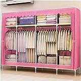 ZZF Combination Wardrobe Simple Wardrobe Cloth Wardrobe Fashion Embossed Embossed Double Storage Storage Cabinet Steel Pipe A