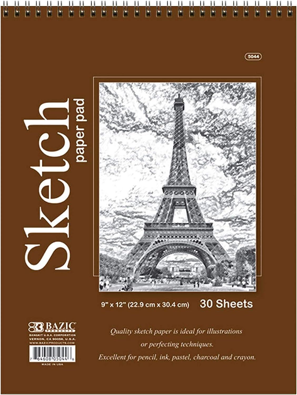 2-Pack White Blank Sketchbook Drawing Pads BAZIC 50 Sheets 6 X 8 Top Bound Spiral Premium Sketch Pad Sketching Paper Coloring Book Artist Beginner Kids