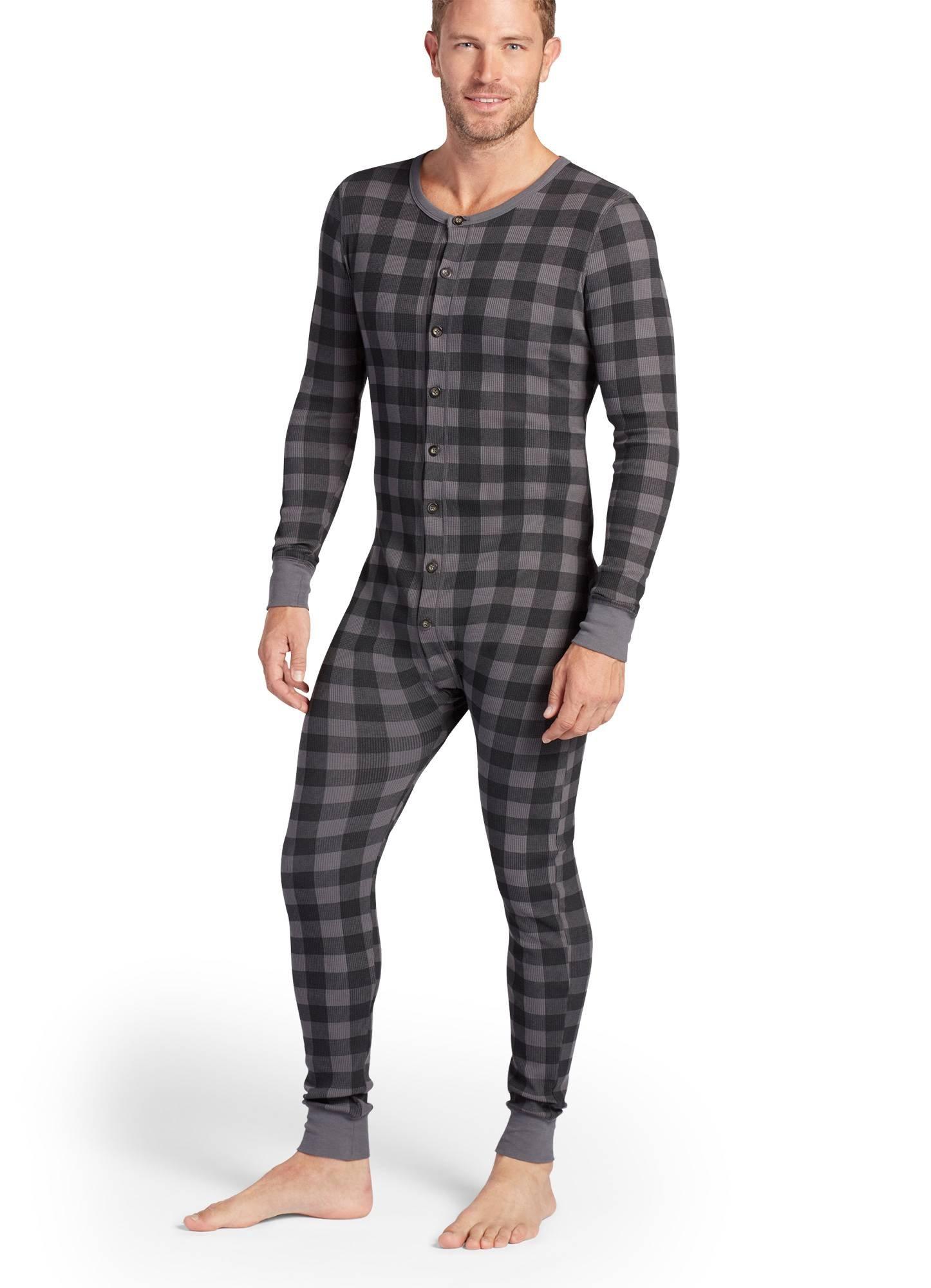 Jockey Men's Sleepwear Waffle Union Suit, Grey Check, XL